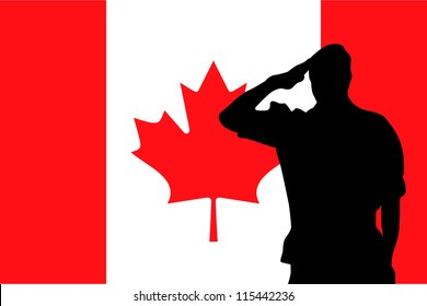 The flag of Canada and the silhouette of a soldier saluting