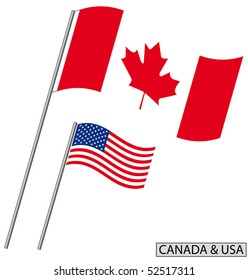 Flag of Canada and USA.