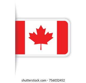 Flag of Canada. Vector illustration of a stylized flag. The slit in the paper with shadows. isolated on white.