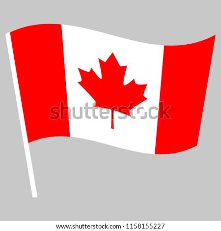 Flag Canada Waving On Stick Symbol Stock Vector Royalty Free