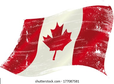 flag of Canada in the wind with a texture