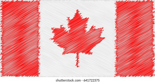 Flag Canadian pencil drawing vector illustration. Vector flag. Using for decoration works. Flag of Canada.