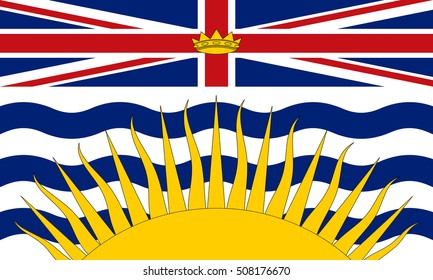 Flag of the Canadian province of British Columbia in correct size, proportions and colors. Canadian patriotic element and official symbol. Canada banner and background. Vector illustration