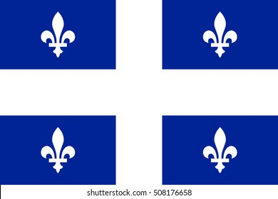 Flag of the Canadian province of Quebec in correct size, proportions and colors. Canadian patriotic element and provincial official symbol. Canada Quebec banner and background. Vector illustration