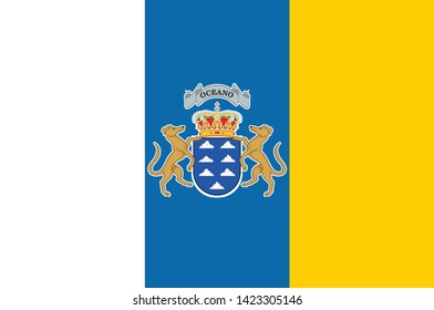 Flag of Canary Islands are a Spanish archipelago and the southernmost autonomous community of Spain located in the Atlantic Ocean. Vector illustration