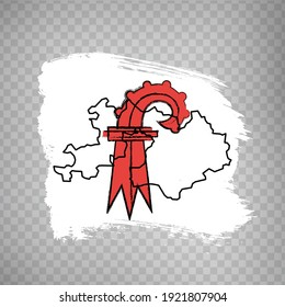 Flag  Canton of Basel-Landschaft from brush strokes. Blank map Canton of Basel-Landschaft.  Switzerland. High quality map and flag for your web site design, app  on transparent background.  EPS10.