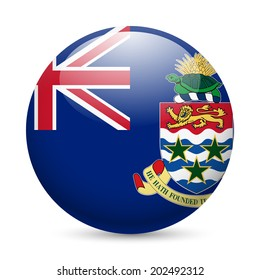 Flag of Cayman Islands as round glossy icon. Button with flag design
