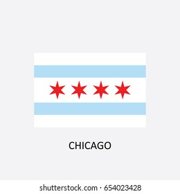 Flag of Chicago - Illinois - United States Vector Illustration