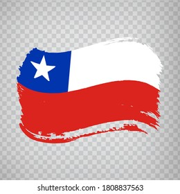 Flag of Chile, brush stroke background.  Flag of the Republic of Chile on transparent background for your web site design, logo, app. EPS10.