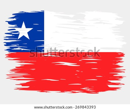 flag chile painted brush colored inks stock vector royalty free