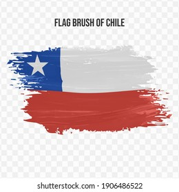 Flag Of Chile in texture brush  with transparent background, vector illustration in eps file