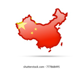 Flag of China and contour of the country on white background.