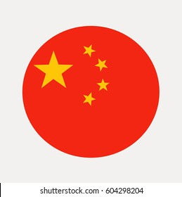 Flag of China Inside a Circle. Vector Illustration. Flat Colors.