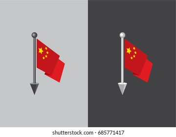 Flag of China. Flag on the flagstaff