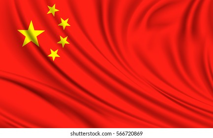 Flag of china. Realistic vector illustration