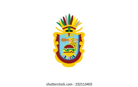 Flag and Coat of arms of Mexican state of Guerrero; isolated on white background. Vector design. Original and simple Guerrero flag isolated vector in official colors and Proportion Correctly