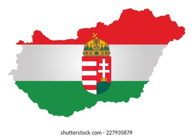 Flag and coat of arms of the Republic of Hungary overlaid on outline map isolated on white background