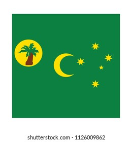 Flag of Cocos Islands,Cocos Islands flag Vector Square Icon - Illustration, Flag of Cocos Islands. Abstract concept, icon, square, button. Raster illustration on white background.