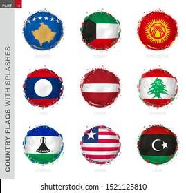 Flag collection, round grunge flag with splashes. 9 vector flags: Kosovo, Kuwait, Kyrgyzstan, Laos, Latvia, Lebanon, Lesotho, Liberia, Libya