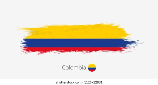Flag of Colombia, grunge abstract brush stroke on gray background. Vector illustration.