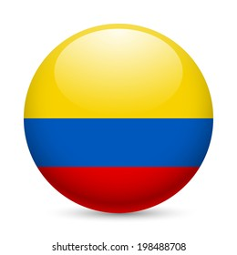 Flag of Colombia as round glossy icon. Button with Colombian flag