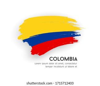 Flag of Colombia vector brush stroke design isolated on white background, illustration