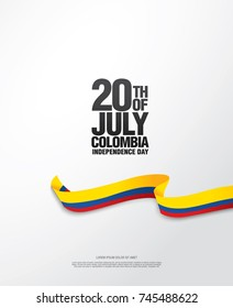 Flag of Colombia, vector illustration, card layout design