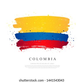 Flag of Colombia. Vector illustration on white background. Brush strokes drawn by hand. Independence Day.