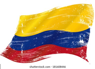 bandera de Colombia en el viento con textura