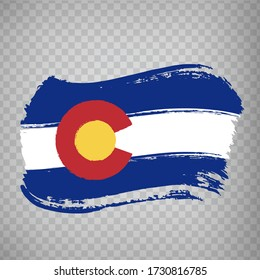 Flag of Colorado from brush strokes. United States of America.  Flag Colorado on transparent background for your web site design, logo, app, UI. Stock vector. Vector illustration EPS10.