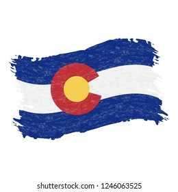 Flag of Colorado. Grunge Abstract Brush Stroke Isolated On A White Background. Vector Illustration. National Flag In Grungy Style. Use For Brochures, Printed Materials, Logos, Independence Day