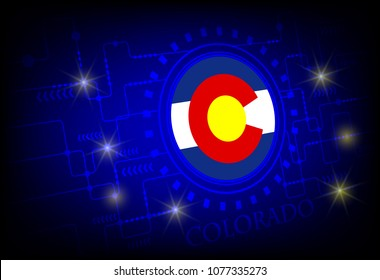 Flag of Colorado on a background of technology.