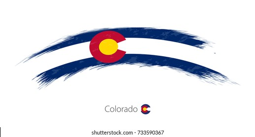 Flag of Colorado state in rounded grunge brush stroke. Vector illustration.