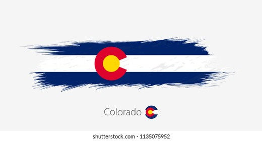 Flag of Colorado US State, grunge abstract brush stroke on gray background.Vector illustration.