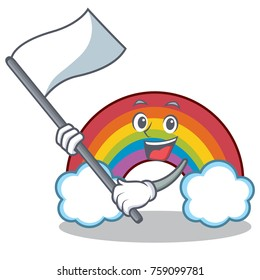 With flag colorful rainbow character cartoon