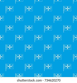 Flag of Columbus pattern repeat seamless in blue color for any design. Vector geometric illustration