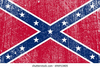 flag of the Confederate States of America. Flag of Confederation in grunge style