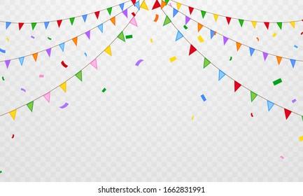 flag confetti party Colorful celebration background.