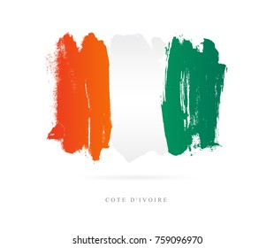 Flag of the Cote d'Ivoire. Vector illustration on white background. Beautiful brush strokes. Abstract concept. Elements for design.