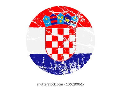 Flag of Croatia Grunge Style. Hand Painted with Brush. Vector Illustration.