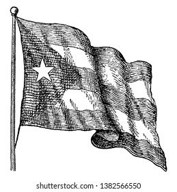 The flag of Cuba was adopted on May 20, 1902, this flag consist of five equal horizontal bands and equilateral triangle, within which five pointed star at the hoist , vintage line drawing or engraving
