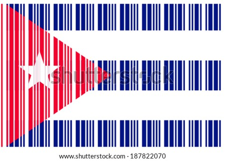Flag Cuba Barcode Format Stock Vector (Royalty Free