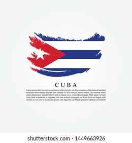 Flag Of Cuba with brush stroke effect and information text poster, Cuba Flag template design. Vector Eps 10