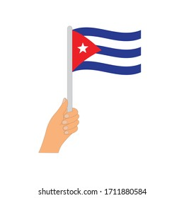 Flag of Cuba  . Hand holding a Cuba  flag - vector icon.