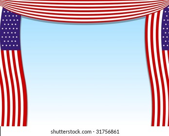 Flag curtains open to reveal