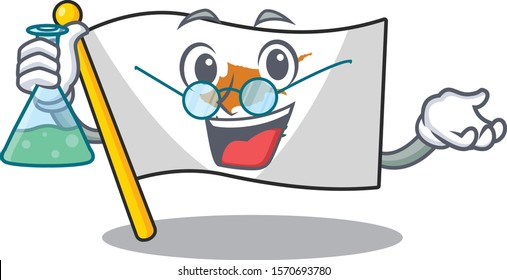 Flag cyprus as a funny Professor cartoon character holding glass tube