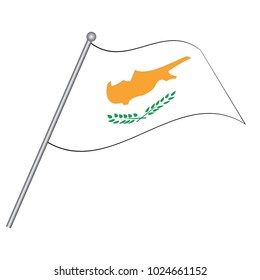 Flag of Cyprus, officially the Republic of Cyprus. Vector illustration of a stylized flag. The slit in the paper with shadows. Element for infographics.