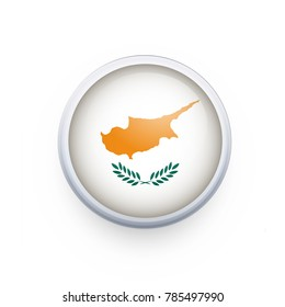 Flag of Cyprus as round glossy icon. Button with Cyprus flag. National flag for country of Cyprus isolated, banner vector illustration. Vector illustration eps10.