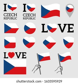 Flag of Czech Republic. Set of Vector Flags of Various Shapes. I Love Czech Republic. EPS Illustration. Isolated Background.