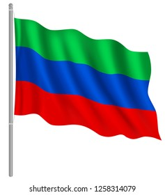 Flag of Dagestan with flag pole waving in wind. Vector illustration